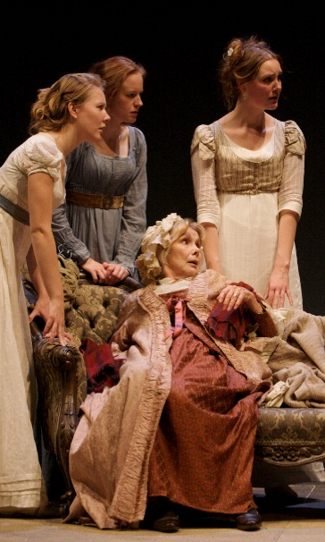 Victoria Hamnett as Mary, Katie Lightfoot as Elizabeth, Susan Hampshire as Mrs Bennet and Violet Ryder as Jane