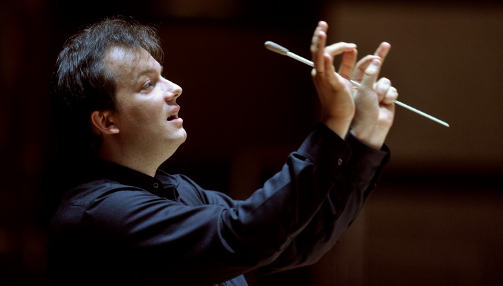 Conductor Andris Nelsons in rehearsal.